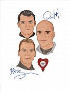Alternative Rock Group Drawings - Autographed Alkaline Trio by Michael Dijamco