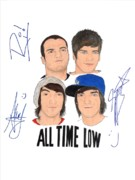 Alternative Rock Group Drawings - Autographed All Time Low by Michael Dijamco