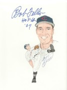 Cleveland Indians Drawings - Autographed Bob Feller by Michael Dijamco