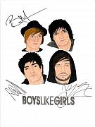 Alternative Rock Group Drawings - Autographed Boys Like Girls by Michael Dijamco