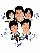 Alternative Rock Group Drawings - Autographed Cobra Starship  by Michael Dijamco