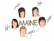 Alternative Rock Band Drawings - Autographed The MAINE 18 x 24 by Michael Dijamco