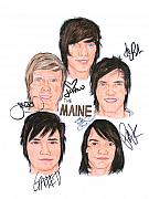 Alternative Rock Band Drawings - Autographed The MAINE by Michael Dijamco