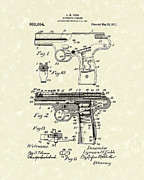 Weapon Drawings Posters - Automatic Firearm 1911 Patent Art Poster by Prior Art Design