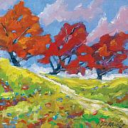 Poppies Artwork Paintings - Automn Trees by Richard T Pranke