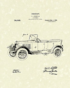 Car Drawings Prints - Automobile Bradfield 1920 Patent Art  Print by Prior Art Design
