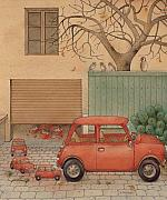Red Tree Prints - Automobile Print by Kestutis Kasparavicius