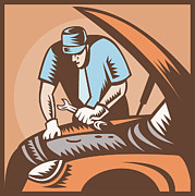 Automobile Artwork. Prints - Automobile Mechanic Car Repair Print by Aloysius Patrimonio