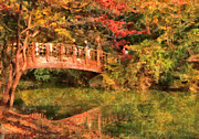 Fall Color Posters - Autumn - Bridge - Asian Delight Poster by Mike Savad