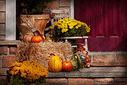 Pumpkins Posters - Autumn - Gourd - Autumn Preparations Poster by Mike Savad