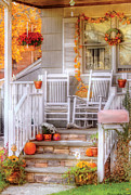 Rocking Chairs Posters - Autumn - House - My Aunts porch Poster by Mike Savad