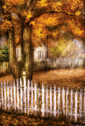 Picket Fence Posters - Autumn - House - White Picket Fence Poster by Mike Savad