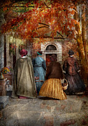 Dressmaker Posters - Autumn - People - A walk downtown  Poster by Mike Savad