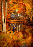 Fall Scenes Posters - Autumn - People - Gone Fishing Poster by Mike Savad