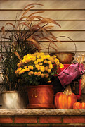 Potted Plant Posters - Autumn - Pumpkin - Autumn Still Life II Poster by Mike Savad