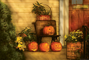 Faced Prints - Autumn - Pumpkin - The Jolly Bunch Print by Mike Savad