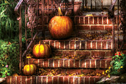 Stoop Framed Prints - Autumn - Pumpkin - Three Pumpkins Framed Print by Mike Savad