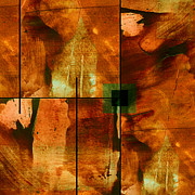 Brown And Green Prints - Autumn Abstracton Print by Ann Powell