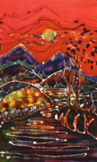 Sun Tapestries - Textiles Prints - Autumn Adirondack Sunset Print by Carol Law Conklin