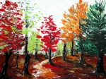 Red Leaves Drawings - Autumn by Anastasiya Malakhova
