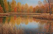 Waterfowl Paintings - Autumn Arrivals by Jake Vandenbrink