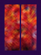 Blurry Mixed Media Prints - Autumn Ash Tree Diptych Print by Steve Ohlsen