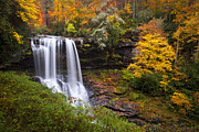 Orange Photo Framed Prints - Autumn at Dry Falls - Highlands NC Waterfalls Framed Print by Dave Allen