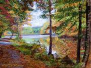 Landscapes Paintings - Autumn at Rockefeller Park  by David Lloyd Glover