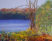 Orange Green Pastels Posters - Autumn at the Lake Poster by David Patterson
