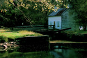 Lockhouse Framed Prints - Autumn at the Lockhouse with watercolor effect Framed Print by William Kuta