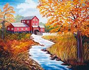 Grist Mill Paintings - Autumn at the Red Grist Mill  by Ruth  Housley