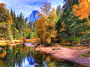 Half Dome Painting Prints - Autumn at Yosemite Print by Dominic Piperata