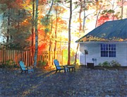 Suburbs Paintings - Autumn Backyard by Sergey Zhiboedov