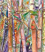 Autumn Foliage Painting Prints - Autumn Bamboo Print by Marionette Taboniar