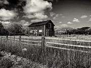 Hayloft Posters - Autumn Barn Black and White Poster by Joshua House