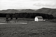 Fall Photos Prints - Autumn Barn in Green Bank WV bw Print by Kathleen K Parker