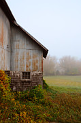 Fog Mist Framed Prints - Autumn Barn Framed Print by Jill Battaglia