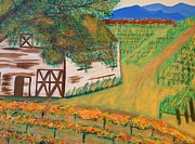 Pastoral Vineyard Painting Posters - Autumn Barn Poster by Kathleen Fitzpatrick
