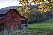 Red Barn Prints Posters - Autumn Barn Poster by Rob Travis