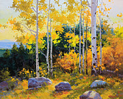 Original Oil On Canvas Prints - Autumn beauty of Sangre de Cristo mountain Print by Gary Kim