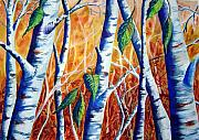 Birch Trees Paintings - Autumn Birch by Joanne Smoley