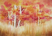 Autumn Trees Painting Posters - Autumn Blaze Poster by Deborah Ronglien