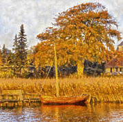 Impressionistic Oil Digital Art - Autumn Boat by Dale Jackson