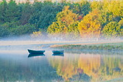 Fog On Water Framed Prints - Autumn Boats Framed Print by Unique Landscape