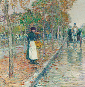 Carriage Horses Paintings - Autumn Boulevard in Paris by Childe Hassam