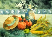 Pumpkins Paintings - Autumn Bounty   by Maryann Schigur