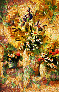 Cheerful Mixed Media Prints - Autumn Bounty - Abstract Expressionism Print by Zeana Romanovna