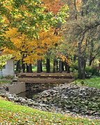Oak Creek Prints - Autumn Bridge Print by Robert Harmon