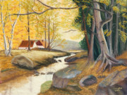 Colors Of Autumn Pastels Prints - Autumn Brook Print by James Geddes