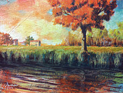 Tuscany Vineyard Oil Paintings - Autumn by the Lake by Christopher Clark